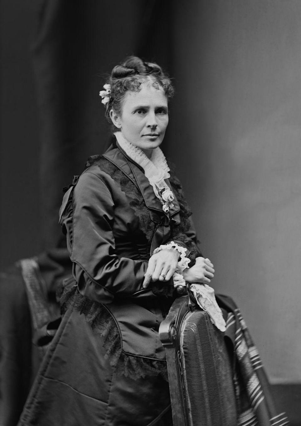 "<p>While she may have been first lady for only a short period of time, a.k.a. around six months, Lucretia Garfield kept up with the latest fashion. She <a href=""http://www.firstladies.org/biographies/firstladies.aspx?biography=21"" rel=""nofollow noopener"" target=""_blank"" data-ylk=""slk:wore a lavender gown"" class=""link rapid-noclick-resp"">wore a lavender gown</a> with a high collar to her husband's inaugural ball in 1881, as seen here. </p>"