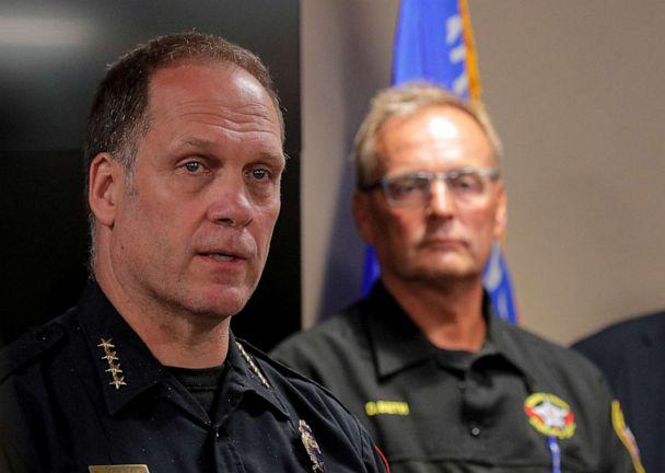PHOTO: Daniel Miskinis, Kenosha police chief, speaks during a news conference, regarding the protests and shootings that came after Jacob Blake was shot by police, in Kenosha, Wisc., Aug. 26, 2020. (Brendan Mcdermid/Reuters)