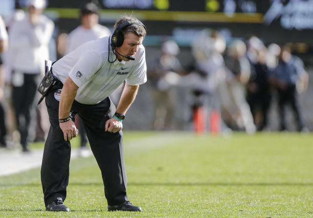 FILE - In this Saturday, Oct. 27, 2018, file photo, Colorado head coach Mike MacIntyre reacts during the second half of an NCAA college football game against Oregon State, in Boulder, Colo. Off to a 5-0 start and ranked in the polls, Colorado has lost three straight games including blowing a double-digit lead to Oregon State last Saturday. (AP Photo/Jack Dempsey, File)