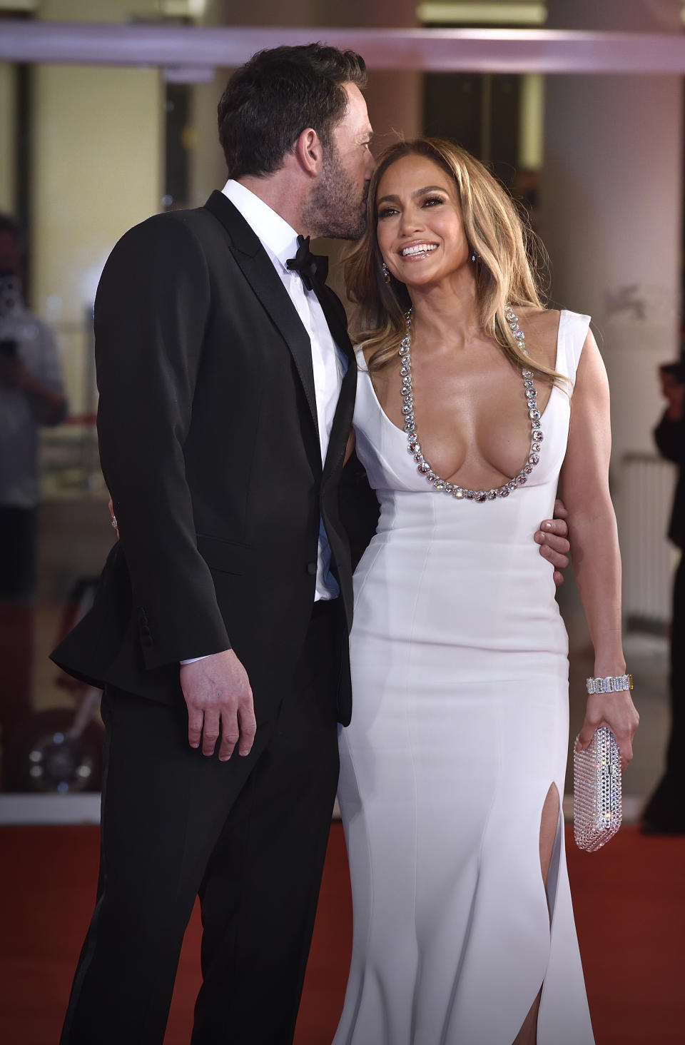 American actor Ben Affleck and american actress and singer Jennifer Lopez  at the 78 Venice International Film Festival 2021.  The last duel red carpet. Venice (Italy), September 10th, 2021 (Photo by Rocco Spaziani/Archivio Spaziani/Mondadori Portfolio via Getty Images)