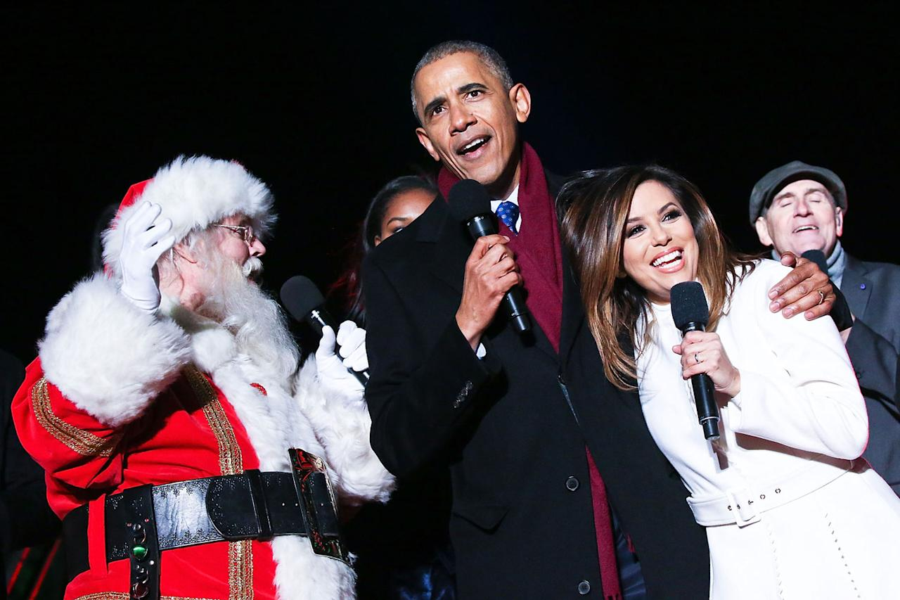 <p>Longoria goes in for a hug with Obama at his last National Christmas Tree lighting ceremony at the White House on Dec. 1, 2016.</p>