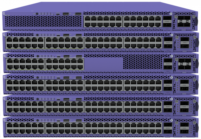 An Extreme Networks X465 switch stack.