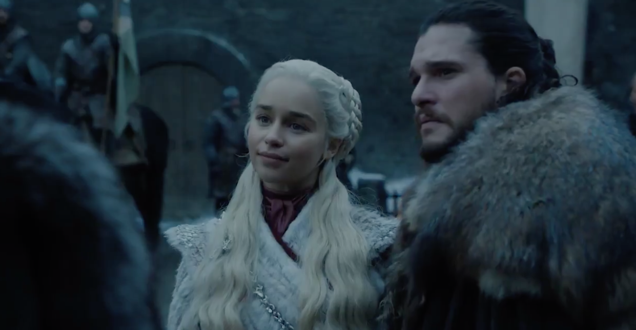 Emilia Clarke as Daenerys Targaryen and Kit Harington as Jon Snow (©2017 Home Box Office, Inc. All rights reserved. HBO® and all related programs are the property of Home Box Office, Inc.)