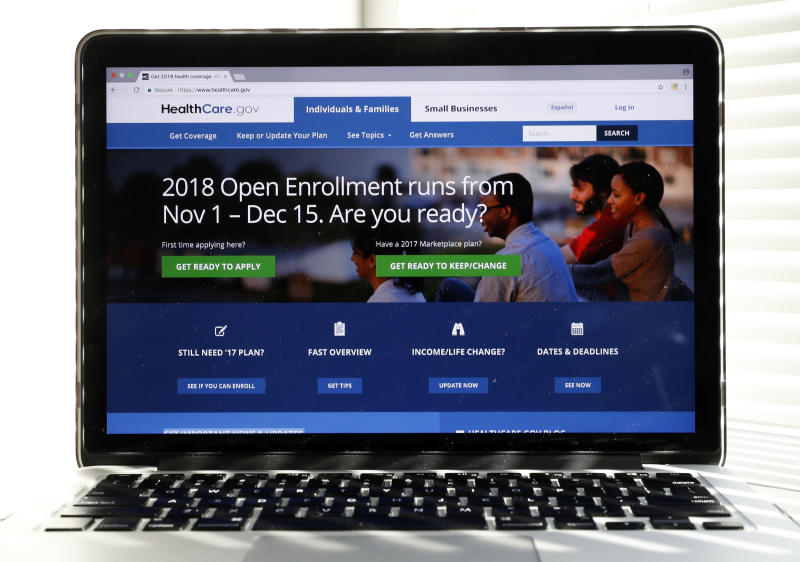 In this Oct. 18, 2017 photo, the Healthcare.gov website is seen on a computer screen in Washington. The government says sign-ups for the Affordable Care Act's subsidized health insurance are still rising. But with just over a week to go in an enrollment season that was cut in half, experts say the final tally is likely to fall short.  (AP Photo/Alex Brandon)