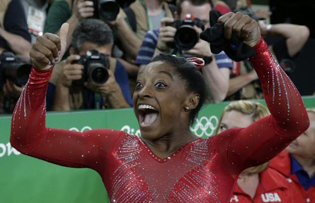 Simone Biles now has three Olympic golds with two events left. (Getty)