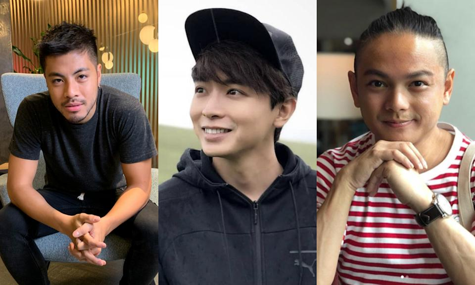 (Left to right) Benjamin Kheng, Aloysius Pang and Dennis Chew were among the most-searched Singapore male celebrities on Yahoo in 2019. (File photo, social media)