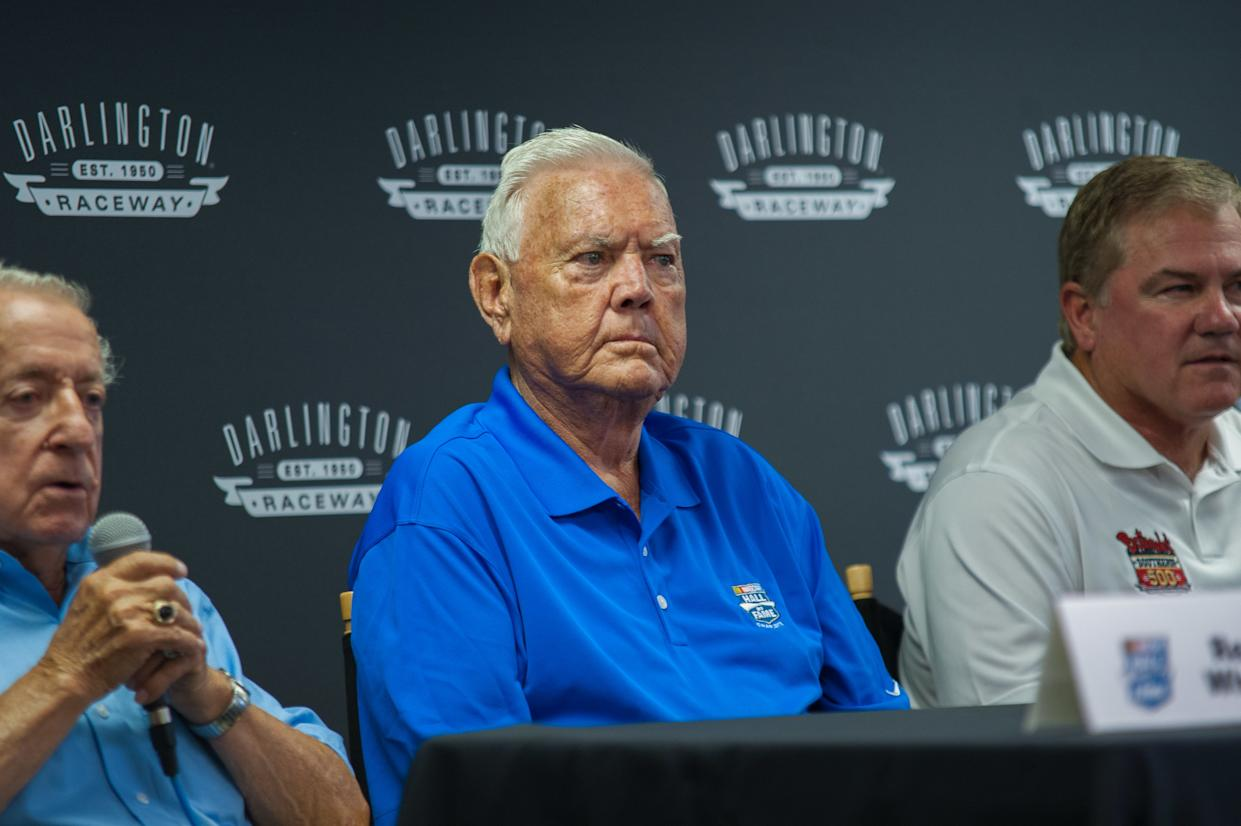 September 06, 2015: The NASCAR Spring Cup Series Bojangles Southern 500 was held on September 06, 2015 at Darlington Raceway in Darlington, SC. Hall of Fame driver Junior Johnson attends the media conference before the race. (Photo by James Guy/Icon Sportswire/Corbis/Icon Sportswire via Getty Images)