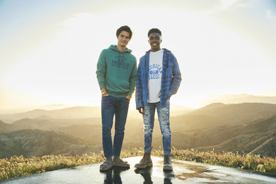 Chase Stokes (left) and Caleb McLaughlin star in American Eagle's fall 2021 back-to-school campaign. - Credit: Courtesy Photo AEO