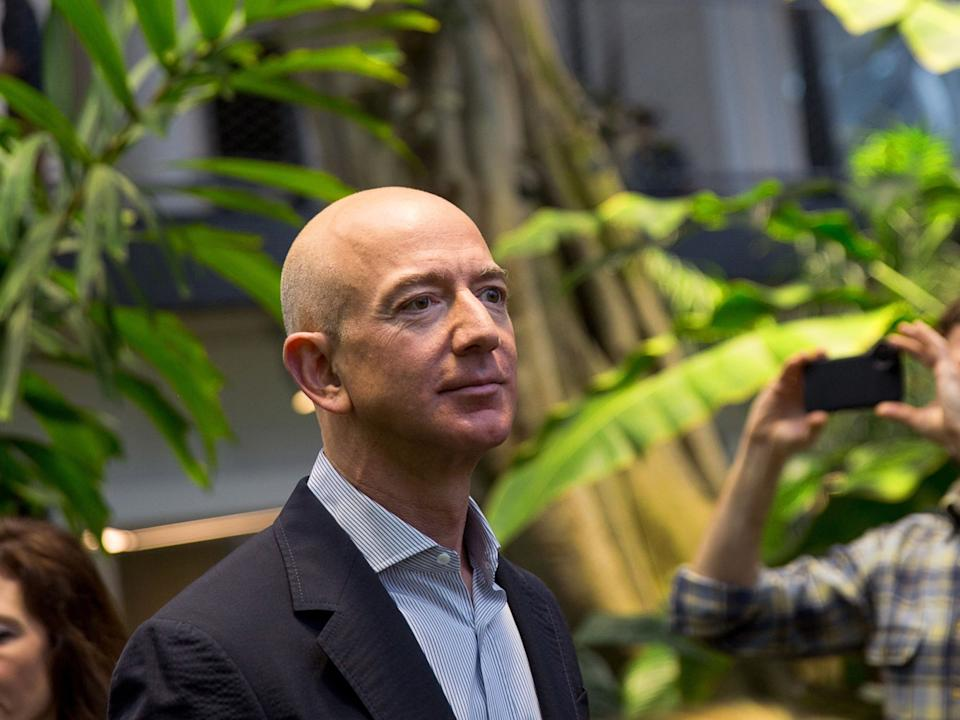 Amazon Chief Executive Officer Jeff Bezos Tours The Spheres On Opening Day (PHOTO: Bloomberg)