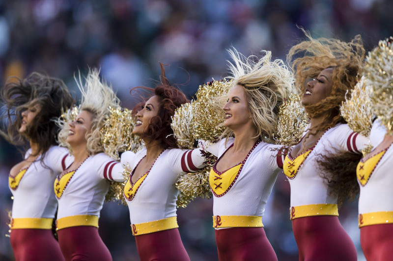 LANDOVER, MD - DECEMBER 15: Washington Redskins cheerleaders perform during the first half of the game against the Philadelphia Eagles at FedExField on December 15, 2019 in Landover, Maryland. (Photo by Scott Taetsch/Getty Images)