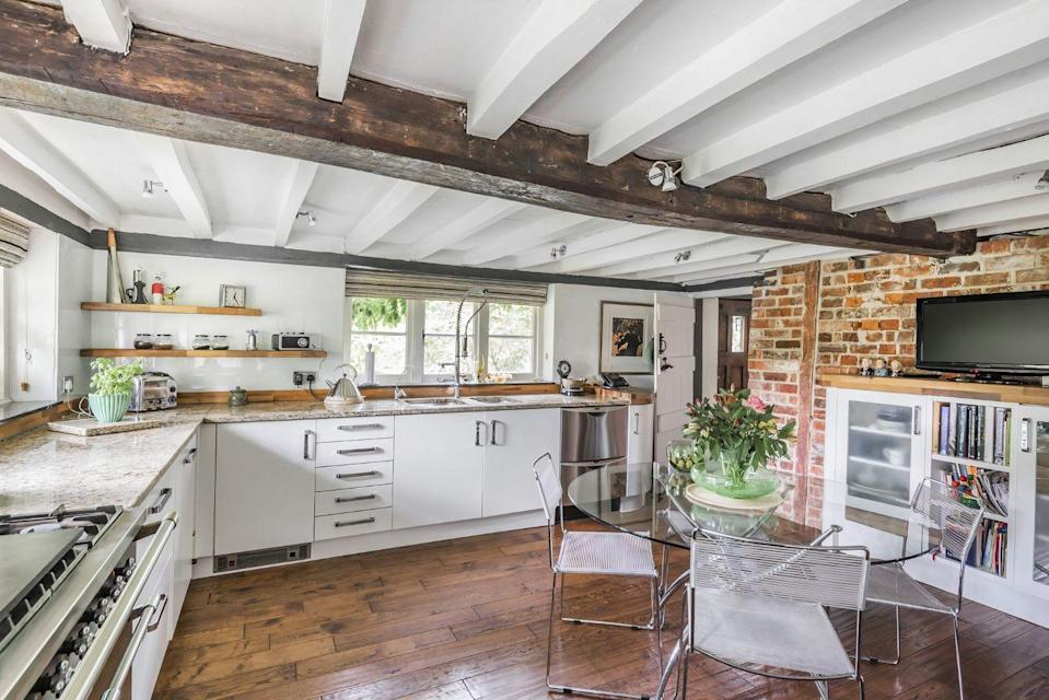 """<p>We've got our eye on this charming country kitchen, which is the perfect post-pandemic entertaining spot.</p><p><strong>READ MORE</strong>: <a href=""""https://www.countryliving.com/uk/homes-interiors/interiors/g26662976/country-kitchen-ideas/"""" rel=""""nofollow noopener"""" target=""""_blank"""" data-ylk=""""slk:20 country kitchen ideas to fall in love with"""" class=""""link rapid-noclick-resp"""">20 country kitchen ideas to fall in love with</a></p>"""