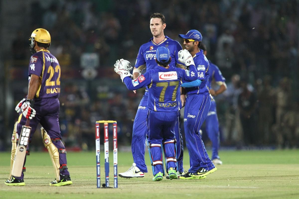 Shaun Tait of Rajasthan Royals is congratulated for getting Rajat Bhatia of Kolkata Knight Riders wicket during match 8 of the the Pepsi Indian Premier League ( IPL) 2013 between The Rajasthan Royals and the Kolkata Knight Riders held at the Sawai Mansingh Stadium in Jaipur on the 8th April 2013..Photo by Shaun Roy-IPL-SPORTZPICS..Use of this image is subject to the terms and conditions as outlined by the BCCI. These terms can be found by following this link:..https://ec.yimg.com/ec?url=http%3a%2f%2fwww.sportzpics.co.za%2fimage%2fI0000SoRagM2cIEc&t=1495997274&sig=zzrc4Cw.AXR31P3XidYg4w--~C