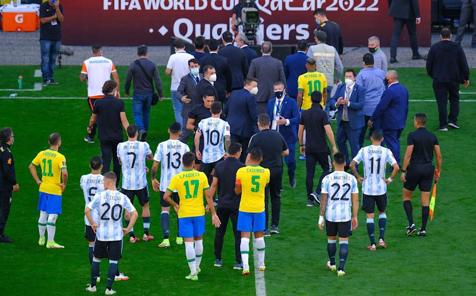 Players leave the area after the World Cup Qualifier game between Brazil and Argentina at Arena Corinthians - Getty Images