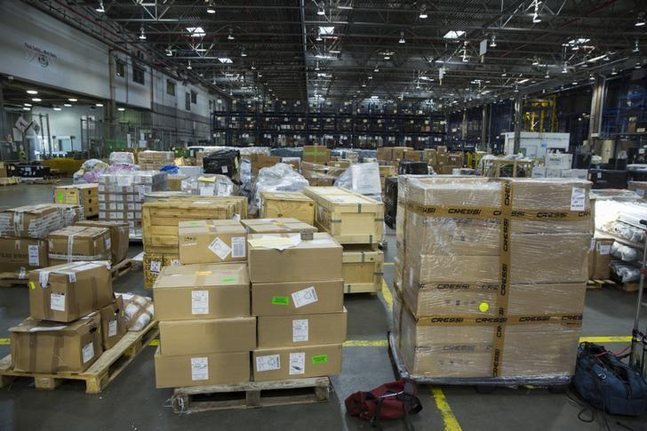 Cargo stands on the floor of a bonded warehouse at John F. Kennedy International Airport in New York