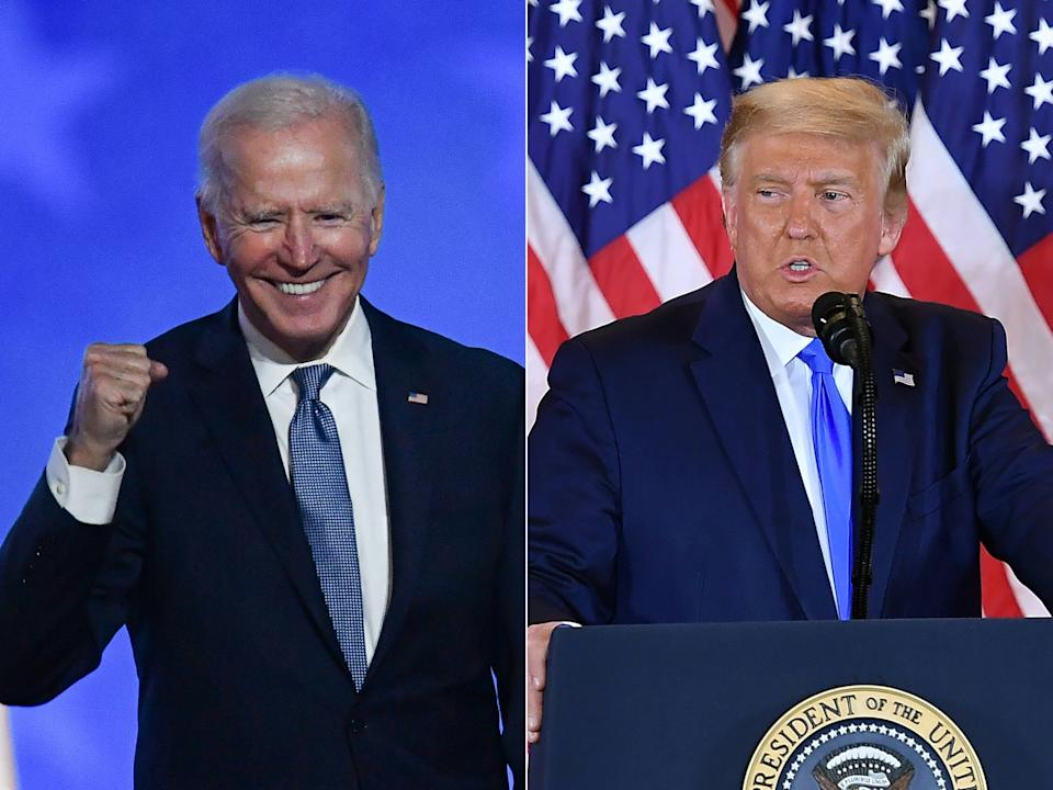 Biden or Trump? The country, world — and, yes, Hollywood — waits for the counting to be done. (Photo: ANGELA WEISS,MANDEL NGAN/AFP via Getty Images)