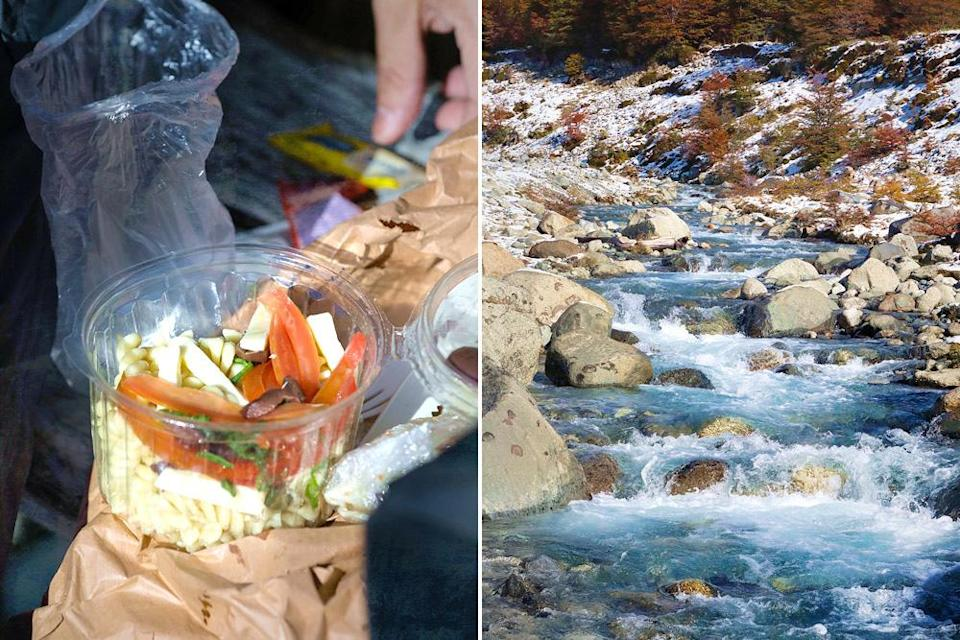 Refuel with some cold pasta salad (left). No need to bring your own water – look out for natural springs and streams (right).