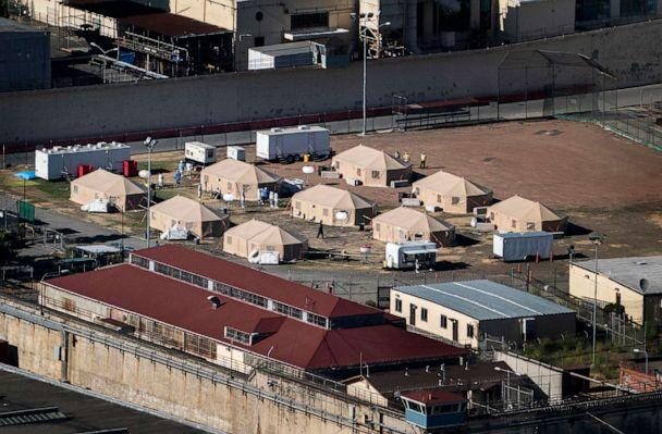 PHOTO: In this July 9, 2020, file photo, medical tents are shown in a baseball field at San Quentin Prison during the COVID-19 pandemic in San Quentin, Calif. (Melina Mara/The Washington Post via Getty Images, FILE)