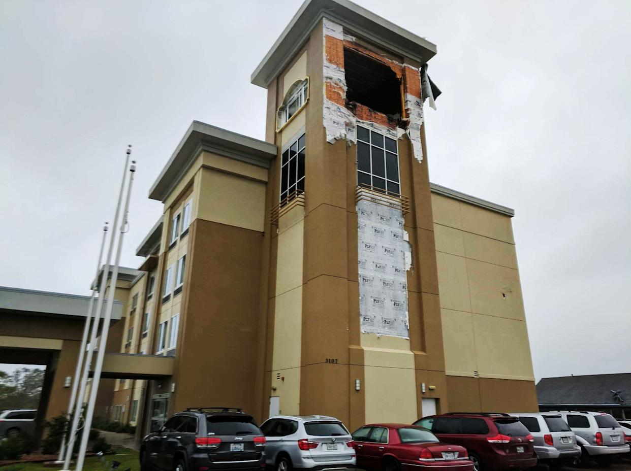 Damage to a hotel in Victoria.