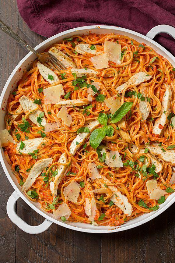 """<p>A vibrant roasted red pepper sauce gives this dish a burst of bold flavor and color.</p><p><strong>Get the recipe at <a href=""""https://www.cookingclassy.com/creamy-roasted-red-pepper-pasta/"""" rel=""""nofollow noopener"""" target=""""_blank"""" data-ylk=""""slk:Cooking Classy"""" class=""""link rapid-noclick-resp"""">Cooking Classy</a>.</strong></p>"""