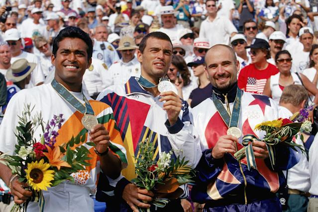 <p>Tennis great Andre Agassi won a gold medal in men's singles at the 1996 Summer Games in Atlanta. (Getty) </p>