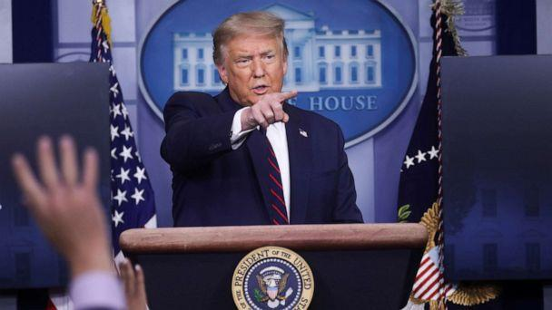 PHOTO: President Donald Trump points to a reporter for a question during a coronavirus disease (COVID-19) response news briefing at the White House in Washington, July 21, 2020. (Leah Millis/Reuters)