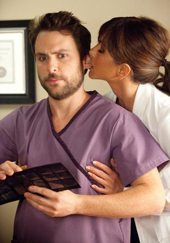 <p>Charlie Day as Dale and Jennifer Aniston as Dr. Julia Harris, his sexually inappropriate boss, in 'Horrible Bosses'.</p>