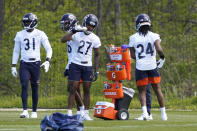 Chicago Bears cornerback Thomas Graham Jr. (27) drinks during the NFL football team's rookie minicamp Friday, May, 14, 2021, in Lake Forest Ill. (AP Photo/David Banks, Pool)