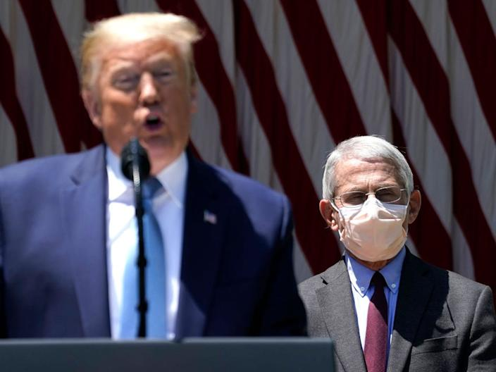 """President Donald Trump is flanked by Dr. Anthony Fauci, director of the National Institute of Allergy and Infectious Diseases while speaking about coronavirus vaccine development in the Rose Garden of the White House on May 15, 2020 in Washington, DC. <p class=""""copyright"""">Drew Angerer/Getty Images</p>"""