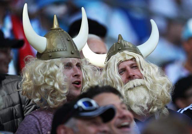 <p>Iceland fans before the group D match between their nation and Argentina in Moscow. (Photo by Ian MacNicol/Getty Images) </p>