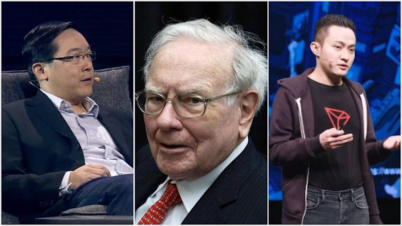 Litecoin's Charlie Lee will join Tron CEO Justin Sun on his $4.6 million crypto power lunch with bitcoin skeptic Warren Buffett. | Source: (i) Slush on YouTube Screenshot (ii) REUTERS/Rick Wilking/Files (iii) Tron Foundation/YouTube; Edited by CCN