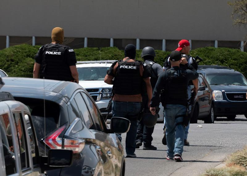 Photo shows police at the scene of a Texas mass shooting.