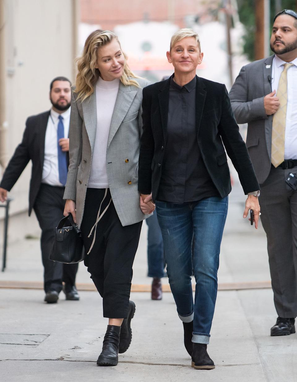 Ellen DeGeneres is the queen of suits, and clearly she's had an influence on wife Portia de Rossi's wardrobe. Here, the two are out and about in Los Angeles in December 2018, wearing coordinating tailored ensembles.