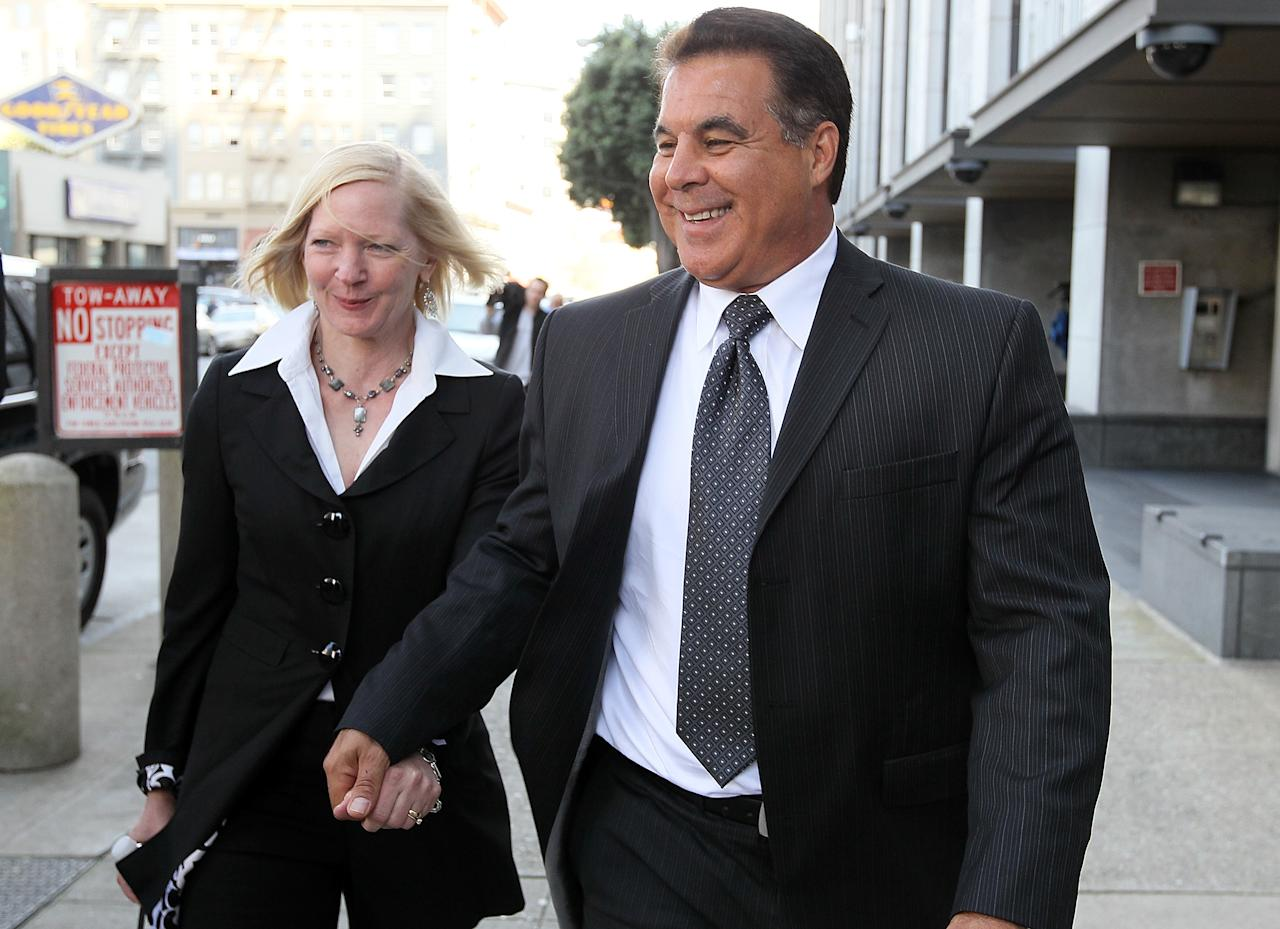 SAN FRANCISCO, CA - MARCH 29:  Former San Francisco Giants trainer Stan Conte (R) leaves federal court with an unidentified woman after testifying during the Barry Bonds perjury trial on March 29, 2011 in San Francisco, California. Barry Bonds' perjury trial accusing him of lying to a grand jury about his use of performance enhancing drugs when he played for the San Francisco Giants enters its second week. The trial is expected to last two to four weeks.  (Photo by Justin Sullivan/Getty Images)