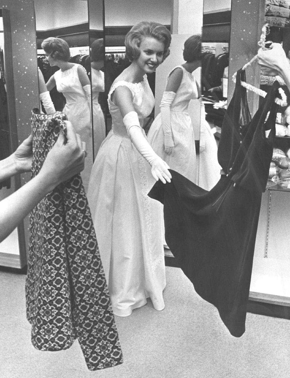 <p>Kathleen Knight of Colorado squeezes in one last fitting before the competition. This entire look is pure retro perfection.</p>