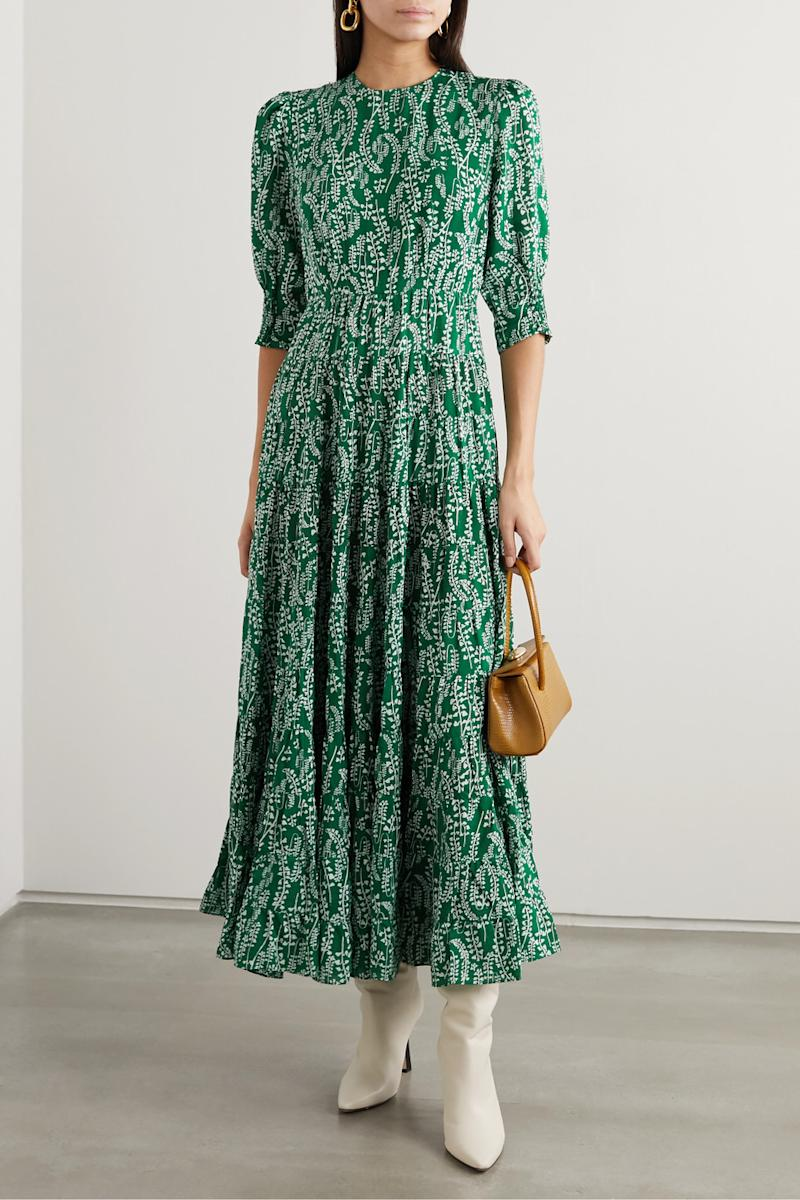 RIXO's lightweight cotton and silk-blend midi-dress features a delicate floral pattern. (Image via Net-a-porter).