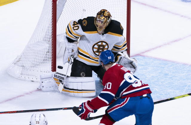 Boston Bruins goaltender Tuukka Rask makes a save against Montreal Canadiens' Tomas Tatar during the first period of an NHL hockey game Tuesday, Nov. 5, 2019, in Montreal. (Paul Chiasson/The Canadian Press via AP)