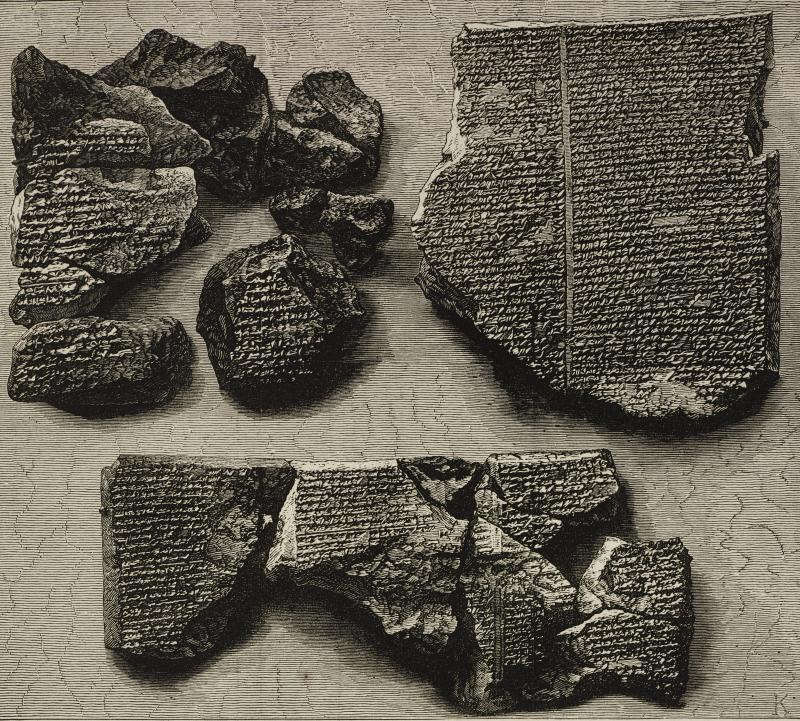 Inscribed stone, giving an account of the Great Flood, Epic of Gilgamesh tablet, from Nineveh, illustration from the magazine The Illustrated London News, volume LXIII, November 15, 1873.