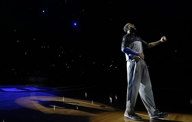 Duke's Josh Hairston is introduced during the team's Countdown to Craziness NCAA college basketball preseason event in Durham, N.C., Friday, Oct. 18, 2013. (AP Photo/Gerry Broome)