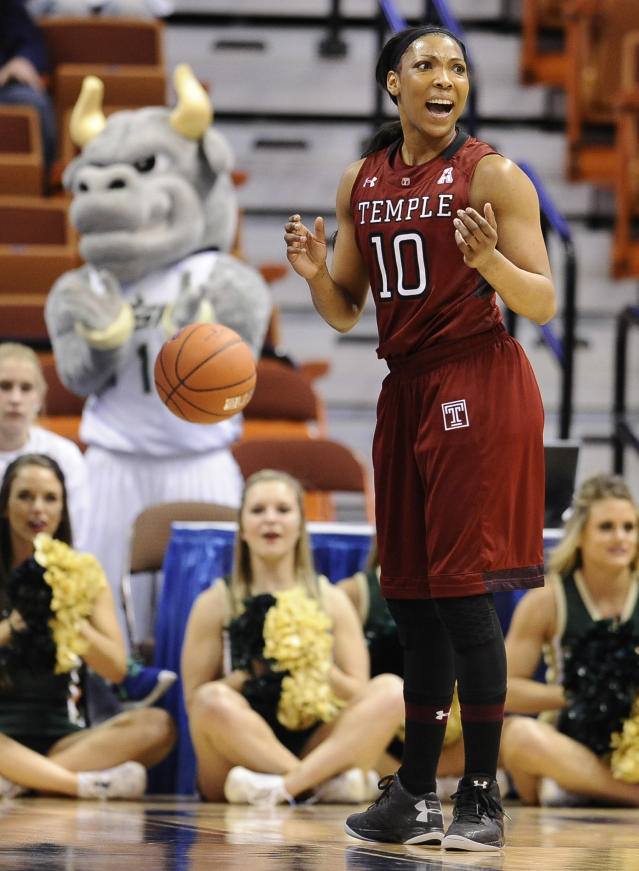 Temple's Shi-Heria Shipp reacts to a foul called on her during the first half of an NCAA college basketball game against South Florida in the quarterfinals of the American Athletic Conference women's basketball tournament, Saturday, March 8, 2014, in Uncasville, Conn. (AP Photo/Jessica Hill)