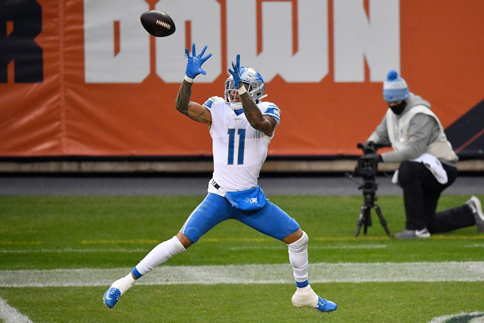 Marvin Jones Jr. (11) of the Detroit Lions catches a 25-yard touchdown reception against the Chicago Bears during the second half at Soldier Field on Dec. 6, 2020 in Chicago.