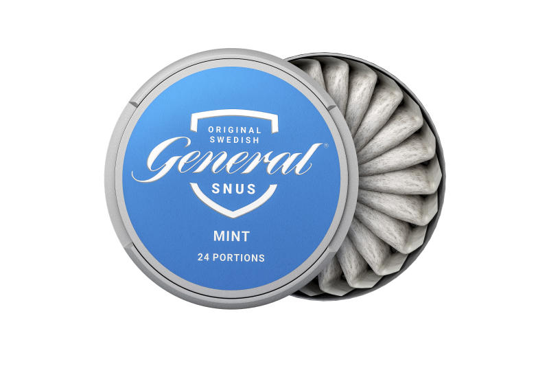 """This image provided by Swedish Match in 2019 shows the company's """"General Snus"""" pouched smokeless tobacco product. On Tuesday, Oct 22, 2019, the U.S. Food and Drug Administration endorsed the tobacco pouches as less harmful than cigarettes, a first-ever decision that could open the door to more lower-risk options for U.S. smokers. (Swedish Match via AP)"""