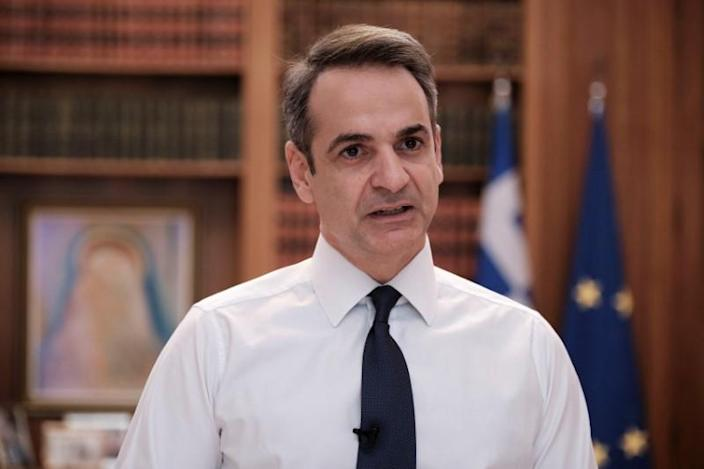 Greek Prime minister Kyriakos Mitsotakis announces nationwide curfew as a precaution against the spread of the coronavirus disease (COVID-19), in the Maximos Mansion in Athens