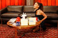 <p>Ariana Grande takes a seat backstage on Sept. 20 while making her debut on NBC's <em>The Voice</em> from Los Angeles.</p>