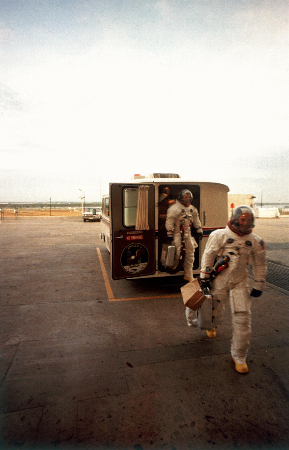 The Apollo 11 astronauts exit the transfer van after they arrive at the mission launch tower, Cape Canaveral (then known as Cape Kennedy), Florida, July 16, 1969. (Photo: Ralph Morse/The LIFE Picture Collection via Getty Images/Getty Images)