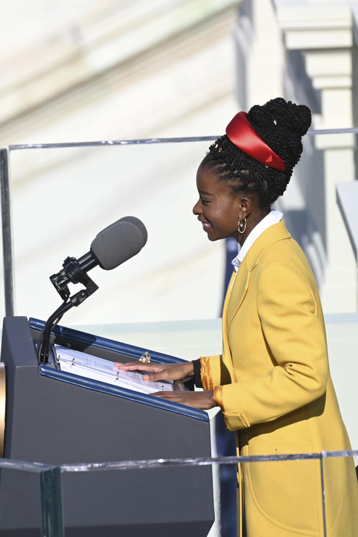 Poet Amanda Gorman recites one of her poems during the 59th Presidential Inauguration at the U.S. Capitol in Washington, Wednesday, Jan. 20, 2021. (Saul Loeb/Pool Photo via AP)