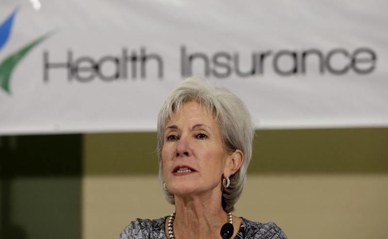 This photo taken Oct. 25, 2013 shows Health and Human Services Secretary Kathleen Sebelius takes part on a panel to answer questions about the Affordable Care Act enrollment, in San Antonio. Misreading the health care law she is responsible for administering, Sebelius has wrongly asserted that the law required health insurance signups to start Oct. 1, whether the system was ready or not. In fact, the decision when to launch the system was hers. (AP Photo/Eric Gay)