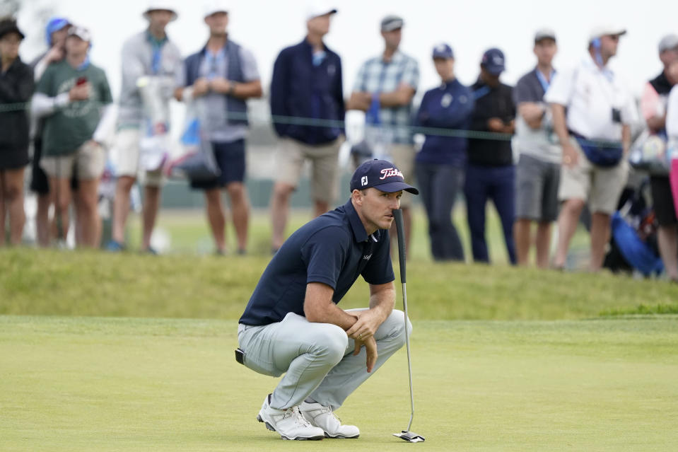 Russell Henley waits to hit on the ninth green during the second round of the U.S. Open Golf Championship, Friday, June 18, 2021, at Torrey Pines Golf Course in San Diego. (AP Photo/Marcio Jose Sanchez)