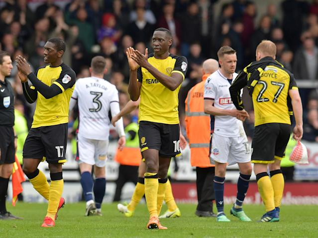 "Soccer Football - Championship - Burton Albion vs Bolton Wanderers - Pirelli Stadium, Burton, Britain - April 28, 2018 Burton Albion's Lucas Akins celebrates after the match Action Images/Paul Burrows EDITORIAL USE ONLY. No use with unauthorized audio, video, data, fixture lists, club/league logos or ""live"" services. Online in-match use limited to 75 images, no video emulation. No use in betting, games or single club/league/player publications. Please contact your account representative for further details."