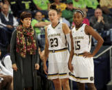 Notre Dame Muffet McGraw, left, talks guards Michaela Mabrey, center, and Lindsay Allen in the first half of an NCAA college basketball game against Harvard, Monday, Nov. 24, 2014, in South Bend, Ind. (AP Photo/Joe Raymond)