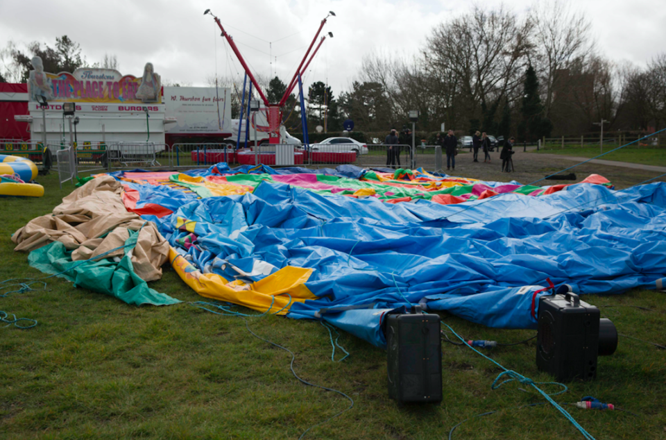 <em>The scene where Summer Grant died after strong winds blew a bouncy castle more than 150m across Harrow Town Park in Essex (SWNS)</em>